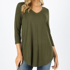 30% OFF 2/MORE Green 3/4 Sleeve Knit Top V-Neck